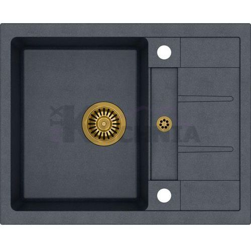 zlewozmywak morgan 116 czarny metalik / odpływ złoty pvd (hb8210u8-g1) marki Quadron