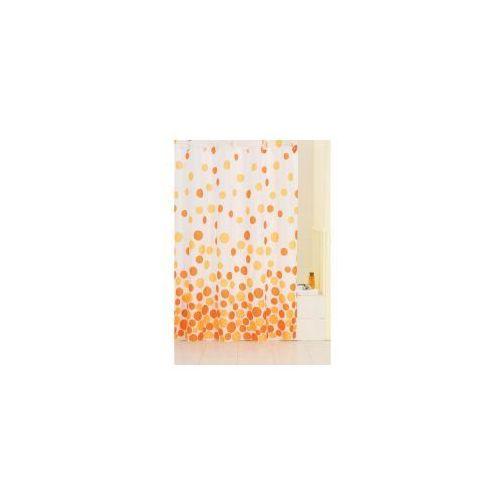 zasłonka prysznicowa biała w pomarańczowe kropki awd02100572 marki Awd interior