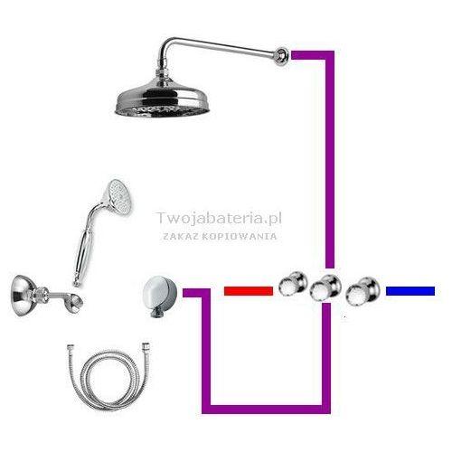 Giulini Giovanni Persia kompletny zestaw prysznicowy deszczownica słuchawka z uchwytem Swarovski przezroczysty 39ZES20