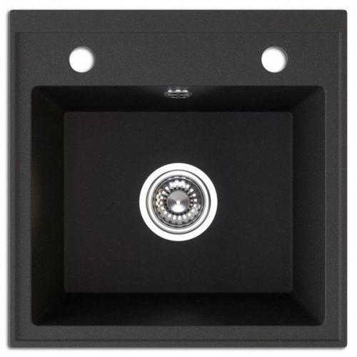 Laveo Trzynastka sgy 710t zlewozmywak granitowy czarny 44x44 1-komorowy + syfon automat
