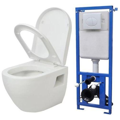 Vidaxl Podwieszana toaleta, ze zbiornikiem, ceramika, biała
