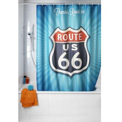 Wenko Zasłona prysznicowa, tekstylna, vintage route 66, 180x200 cm,