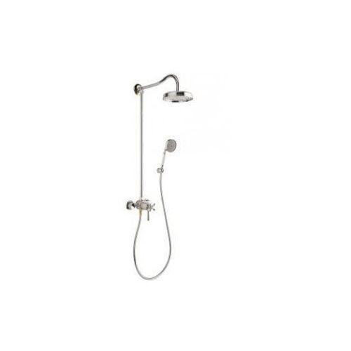 carlton zestaw prysznicowy z deszczownią i termostatem chrom/złoty 17670090 marki Axor