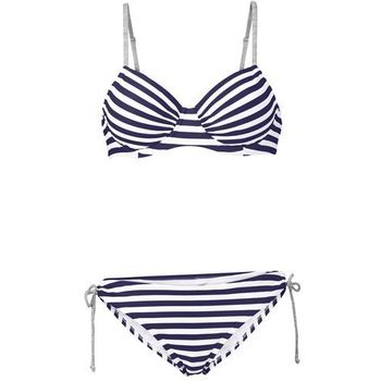 f50a5e8f45fae9 Bikini na fiszbinach (2 części) bonprix ciemnoniebiesko-biały w paski