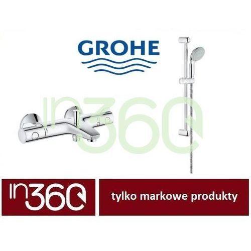 Grohe grohtherm 800 bateria wannowa z termostatem z zestawem prysznicowym (34567000+27598000) chrom in.000p755