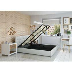 Łóżko 140x200 z pojemnikiem - modena ekoskóra białe marki Zona meble