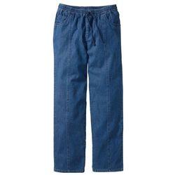 Spodnie z gumką w talii Classic Fit Straight bonprix niebieski, bawełna
