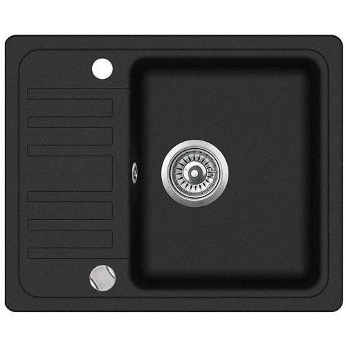 Zlewozmywak granitowy ZEBRO czarny z półociekaczem 46x58x19 cm + syfon automatyczny