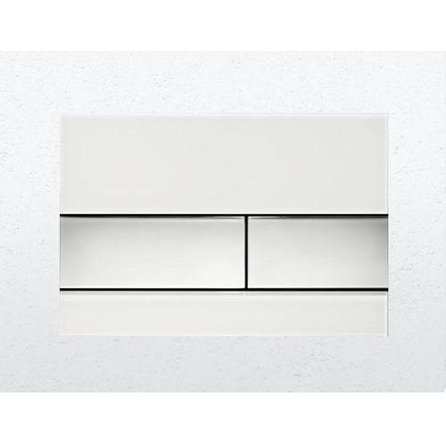 Tece przycisk spłukujący tecesquare szkło białe/przyciski chrom połysk 9240802