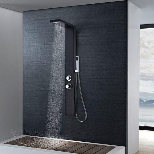 Vidaxl Panel prysznicowy, aluminiowy, czarny matowy