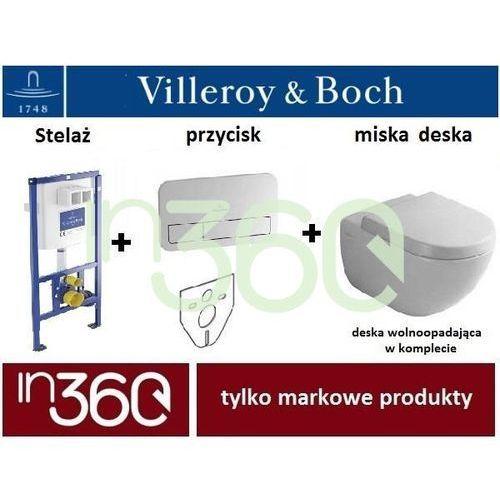 Villeroy ViConnect Subway 2.0, Zestaw stelaż podtynkowy, Miska WC bezrantowa z deską w/o, przycisk (92246100+92249061+5614R001+9M68S10) IN.000Z203