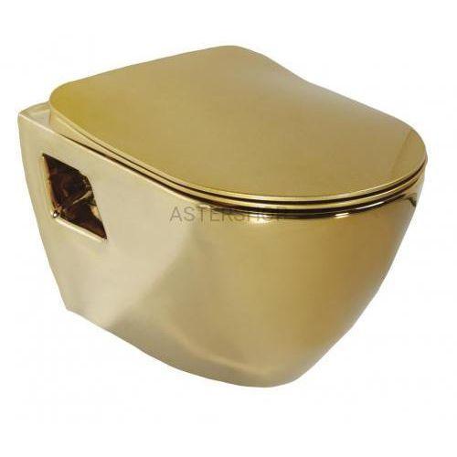 Paula miska wc podwieszana 35,5x50 cm, kolor: złoty tp325.00010 marki Creavit