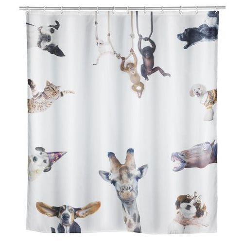 Wenko Poliestrowa zasłonka prysznicowa friends, wodoodporna, grafika, zwierzęta, 12 pierścieni montażowych w zestawie, marka