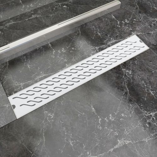 vidaXL Kratka odpływowa, liniowa, 730x140 mm, wzór fali, stal nierdzewna (8718475979067)