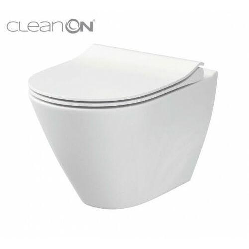 city oval miska wisząca clean on z deską wolnoopadającą slim k701-104 marki Cersanit