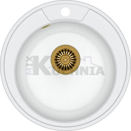 Quadron zlewozmywak danny 210 biały metalik / odpływ złoty pvd (hb8301u1-g1)