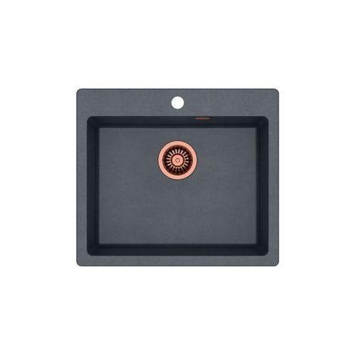 Zlew granitowy z miedzianym syfonem Quadron Morgan 110 - Czarny