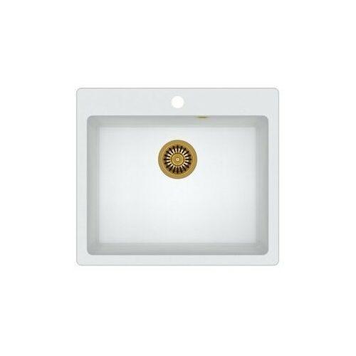 Zlew granitowy ze złotym syfonem Quadron Morgan 110 - Biały