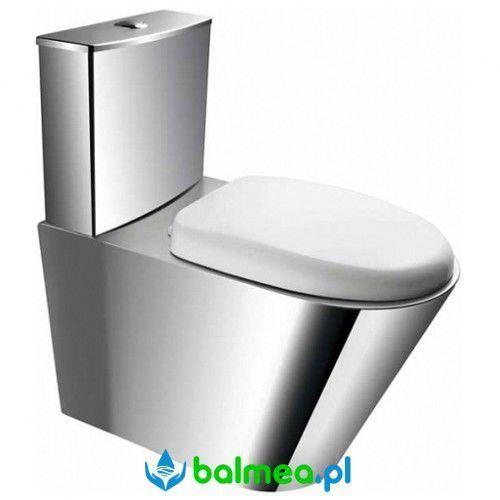 Kompakt wc stojący ze stali nierdzewnej z deską pvc marki Faneco