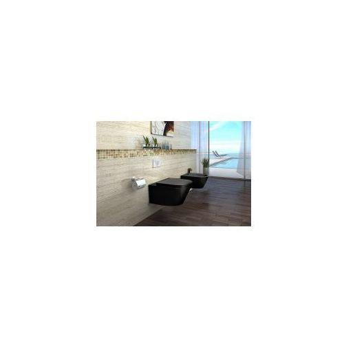 Sonet black miska wc wisząca + deska duroplast wolnoopadająca, czarna marki Pozostali