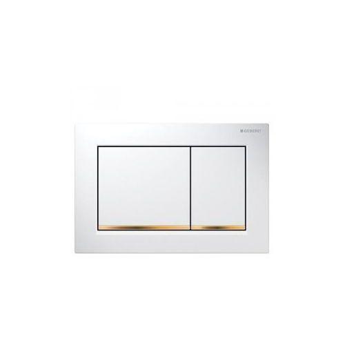 Geberit Omega30 Przycisk uruchamiający, przedni/górny, biały-złoty-biały 115.080.KK.1